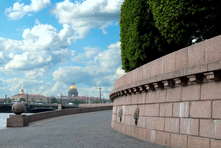 The embankment of the river Neva on the spit of Vasilievsky island in Saint-Petersburg  Stock Photo