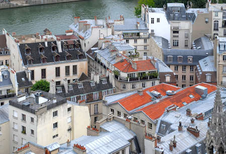 A view of the rooftops of Paris aerial view