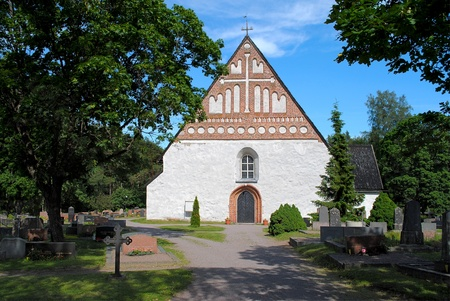 The stone of the Orthodox Church in Finland  Stock Photo