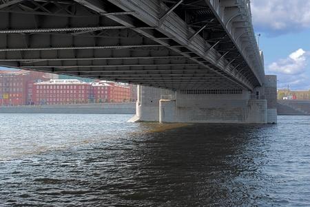 Bottom view of the bridge across the river in Saint-Petersburg  Stock Photo