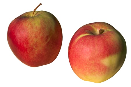 The photo shows the red apples, isolated on white background