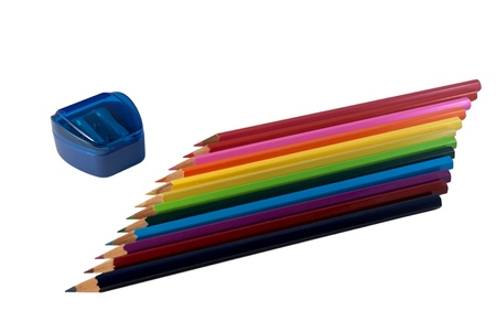 The composition of colored pencils, arranged in a row  Objects are isolated on a white background  Stock Photo