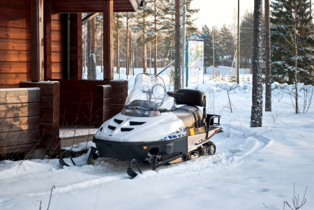 Snowmobiles on holiday at the sports center Vierumäki, Finland