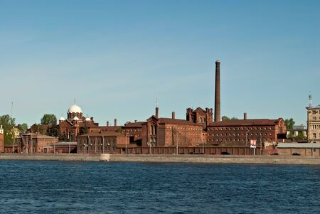 The building of the city prison on the embankment of the river Neva  Saint-Petersburg  Stock Photo