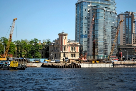 The reconstruction of the embankment of the river Neva  Saint-Petersburg  Editorial