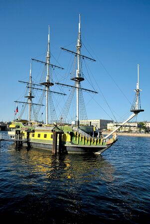 The old three-mast sailing vessel, equipped with a restaurant, on the river Neva  Saint-Petersburg