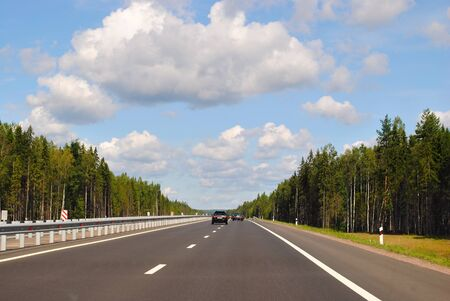 The road on the background of vegetation and sky