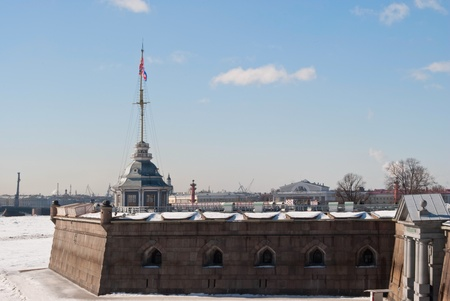 View on the part of the fortress walls of the Petropavlovskaya fortress on the background of blue sky