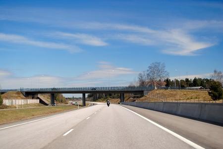 Helsinki-Lahti motorway on a bright sunny day  Stock Photo