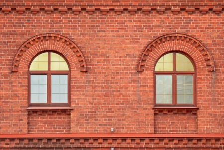 The Windows of the house from a red brick  From the series window of Saint-Petersburg