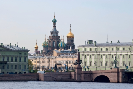 View of the embankment and the Church of the Saviour on the blood from the side of the river Neva in Saint-Petersburg  Stock Photo