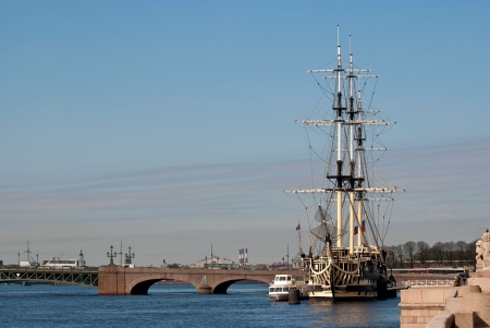 Old sailboat, equipped under the restaurant, on the river Neva in Saint-Petersburg  Stock Photo