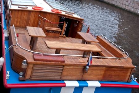 riverine: Sundeck river pleasure boat on the river Moika in Saint-Petersburg   Stock Photo
