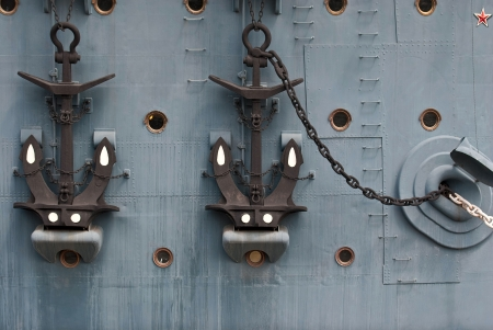 aboard: Aboard the legendary cruiser Aurora with anchors  Stock Photo