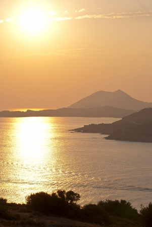 Magnificent sunset on the Aegean Sea at Cape Sounion  Greece  Stock Photo