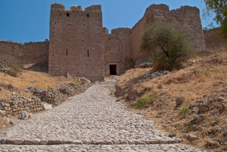 The path leading to the old inner fortification wall of ancient Corinth
