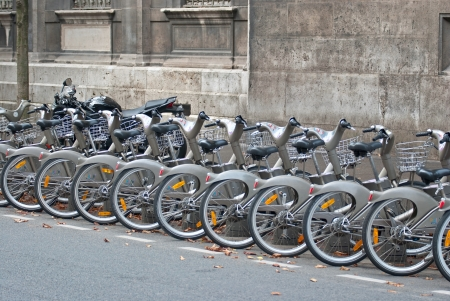 Bicycle parking on a street in the city of Paris