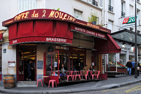 PARIS, FRANCE, September 26  The famous cafe two mills on rue Lepic, Montmartre, Paris, September 29, 2013  Cafe two mills, one of the attractions of Paris