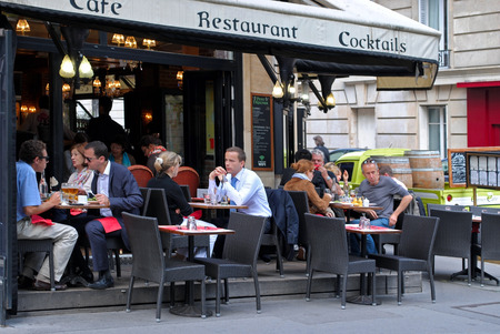 PARIS, FRANCE, June 20  the Parisians and visitors of city lunching and chatting in cafes, 20 June 2012 on Avenue to Kleber in Paris  Editorial