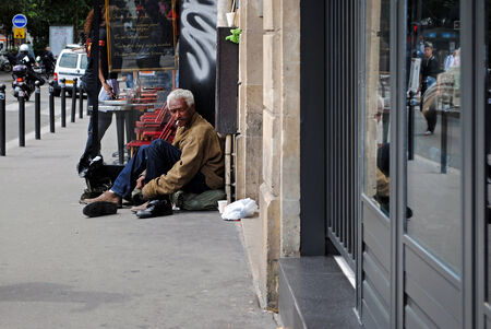 PARIS, FRANCE, June 21  Homeless man on the square Pegal, June 21, 2012 in Paris  Homeless  Series of other life in Paris