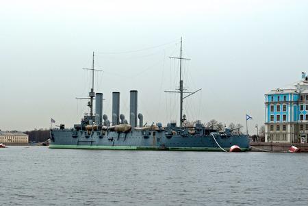The legendary cruiser Aurora in the overcast spring morning on the river Neva in Saint-Petersburg  Stock Photo