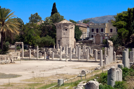 devastation: View of the ruins of an ancient temple in Athens, Greece  Sunny summer day  Stock Photo