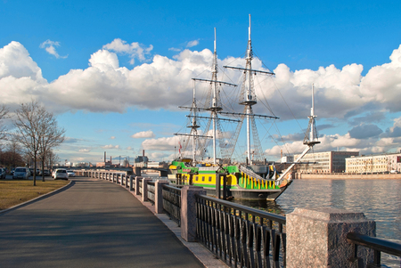 sailer: The old three-masted sailing ship, on the background of blue sky, on the river Neva  Saint-Petersburg