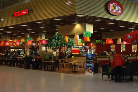 FORSSA, FINLAND, January 5: Hesburger Restaurant and Pizza Buffa in the mall Prisma January 5, 2015 in Forssa in Finland.