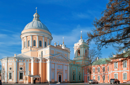 Trinity Cathedral of the Alexander Nevsky Lavra in Saint-Petersburg. Stock Photo