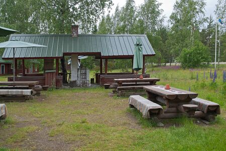 View of the courtyard of the Finnish roadside tavern.
