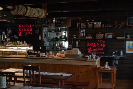 TOIKKALA, FINLAND, June 25: The interior of a small, but very cozy cafe in the Finnish village on the road Toikkala Kouvola Lappeenranta, June 25, 2015.