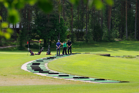 VIERUMAKI, FINLAND, June 23: Golf Players hold training session at the sports centre for the game of Golf Vierumaki, one of the most favorite in Finland, places for recreation and sports, June 23, 2015.
