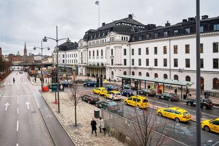 norrmalm: STOCKHOLM, SWEDEN, 07 march: View of the street Vasagatan and the central square in front of the railway station of the city of Stockholm, in the Norrmalm district, of 7 march, 2016.