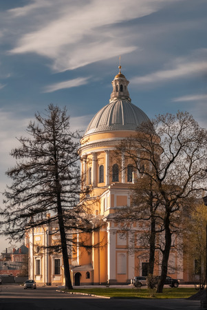 lavra: Trinity Cathedral of the Alexander Nevsky Lavra in Saint-Petersburg. Stock Photo