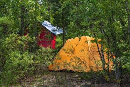 Yellow tourist tent installed in the Karelian forest on a hot sunny day. Stock Photo