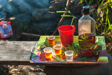 Bottle of cognac, liqueur glasses, mug and a sprig of mountain ash mug on tray, standing on a wooden board. Stock Photo