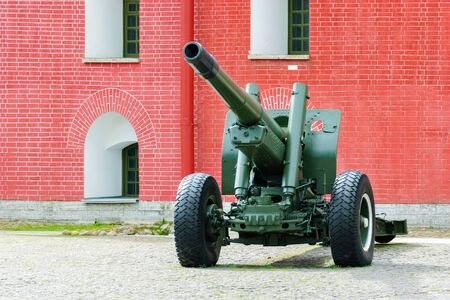 Artillery gun on a wheeled platform, standing in the courtyard of the Peter and Paul fortress in Saint-Petersburg. Editorial