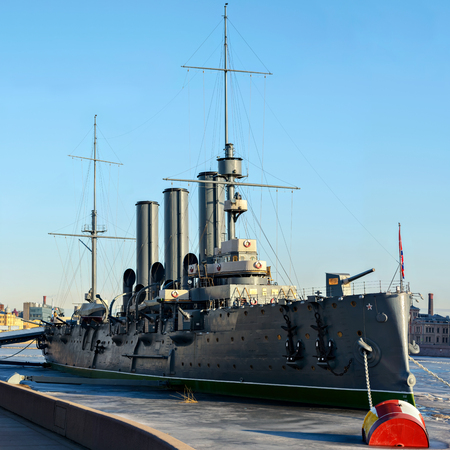 The legendary Cruiser Aurora on a Sunny spring morning on the river Neva in Saint-Petersburg on the eternal Parking after reconstruction. Stock Photo