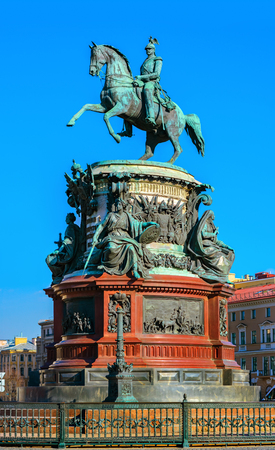 The monument to Emperor Nicholas the sculptor of Peter Karlovich Klodt St. Isaacs square in Saint Petersburg.