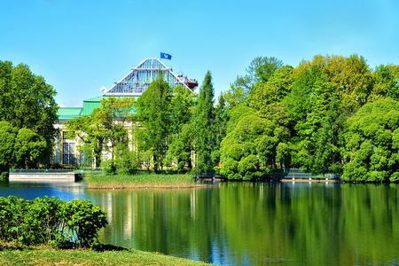The pond in the Tauride garden, with views of the Tauride Palace and Museum of history of parliamentarism in Russia and the CIS countries in Saint-Petersburg. Editorial