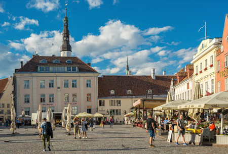 TALLINN, ESTONIA, August 09: the Townspeople and the tourists have lunch in the cafe and just walk around the town hall square in the old town of Tallinn, 09 Aug 2017. Editorial