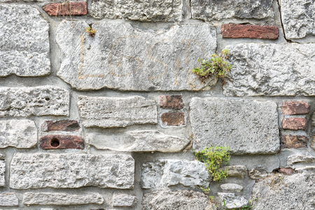 Old wall of gray stone with splashes of bricks and green shoots in the seams, for use as a background. Banco de Imagens