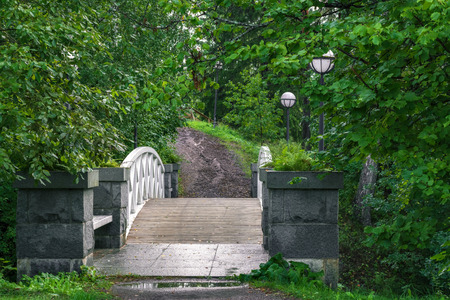 Pedestrian arched bridge over the ravine in the Park with white railing and street lights on the sides.