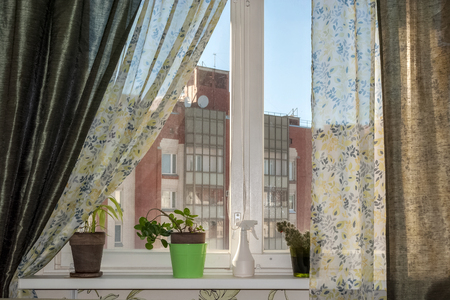 Home interior with window, flowers and curtains.