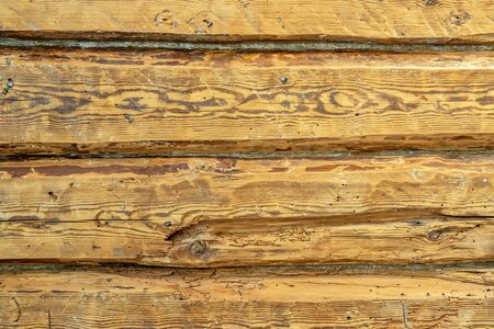 Fragment of a wooden wall from old dry logs, for use as a texture and abstract background.