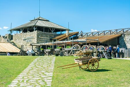 Rakvere, Estonia, June 28: Tourists get acquainted with the sights of the ancient castle in the city of Rakvere, June 28, 2019. 에디토리얼