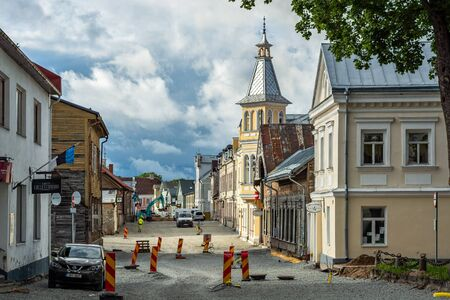 Rakvere, Estonia, June 27: Reconstruction of the pavement of the roadway and sidewalk of Peak Street in the old part of Rakvere, June 27, 2019.