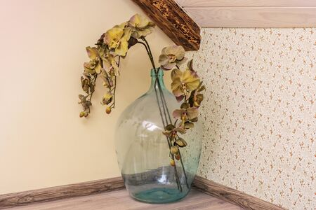 Ekibana in the form of dried flowers on a branch in a large glass bottle in the corner of the room.