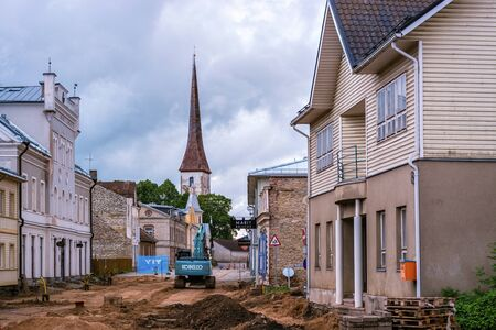 Rakvere, Estonia, June 27: Construction work on the reconstruction of the pavement of PIK street in the old town of Rakvere, June 27, 2019.