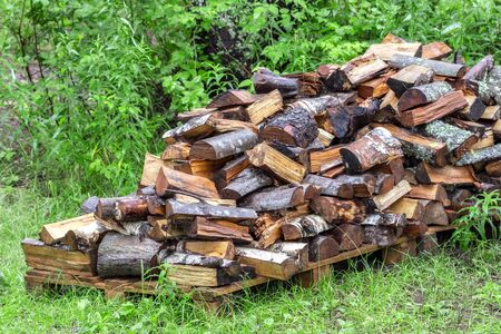 Woodpile of piled wood on a background of green grass and bushes. 스톡 콘텐츠